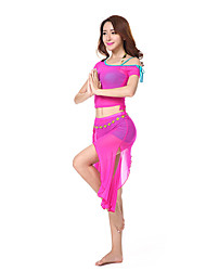 Belly Dance Outfits Women's Training Chinlon Side-Draped 2 Pieces Belly Dance Short Sleeve HighTop /