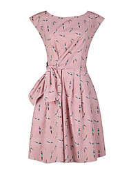 Women's Casual/Daily Vintage Loose Dress,Print Round Neck Knee-length Sleeveless Pink Polyester Summer