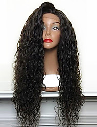 Hot Selling 180% Density Loose Curly Natural Black Synthetic Lace Front Wigs High Heat Resistant Synthetic Hair Wig
