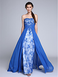 TS Couture®Formal Evening Dress Sheath / Column Strapless Sweep / Brush Train Chiffon / Lace with Beading