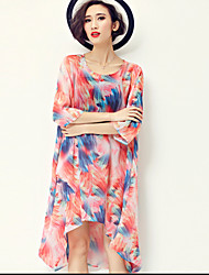 Round Neck Ruched Maternity Dress,Others Midi ¾ Sleeve
