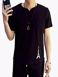 Men's Fashion V Neck Iron Tower Print Cotton Linen Slim Fit Short-Sleeve T-Shirt;Casual/Cotton/Plus Size