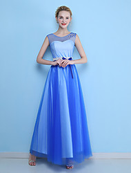 Formal Evening Dress A-line Scoop Ankle-length Tulle with Beading / Bow(s) / Lace