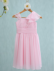 Sheath / Column Straps Knee Length Chiffon Junior Bridesmaid Dress with Ruffles Side Draping by LAN TING BRIDE®
