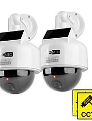 KingNEO KD201S Dummy Solar Powered Speed Dome Camera Simulated Outdoor Security Camera 2pcs White