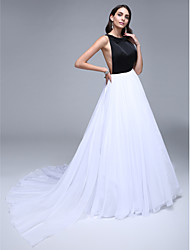 TS Couture Formal Evening Dress - Celebrity Style A-line Jewel Court Train Chiffon Satin with Crystal Detailing