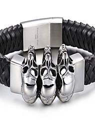 Lederen armbanden 1 stuks,Punk-stijl Doodshoofdvorm Zwart Leder Sieraden Gifts