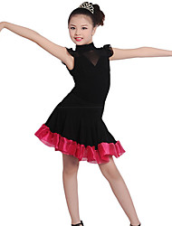 Children's Training Cotton / Crepe / Linen Ruched 1 Piece Black Ballet Short Sleeve Natural Dress