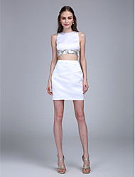 TS Couture® Cocktail Party Dress Sheath / Column Jewel Short / Mini Satin with Criss Cross / Sequins