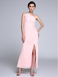Formal Evening Dress Sheath / Column One Shoulder Ankle-length Chiffon with Crystal Detailing