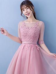 Short / Mini Lace / Satin Bridesmaid Dress - Ball Gown Jewel with Lace / Sash / Ribbon