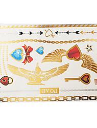 1PC Flash Metallic Waterproof Tattoo Gold Silver Wing Heart Lock Key Temporary Tattoo Sticker YH-004