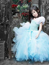 Ball Gown Floor-length Flower Girl Dress - Tulle Short Sleeve Square