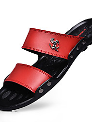 Men's Slippers & Flip-Flops Summer Latex Casual Flat Heel Others Black Brown Red Walking
