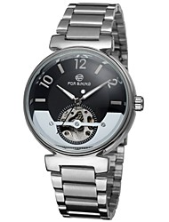 FORSINING® Men's Watch Automatic self-winding Skeleton Watch Hollow Engraving Stainless Steel Band Cool Watch Unique Watch Fashion Watch