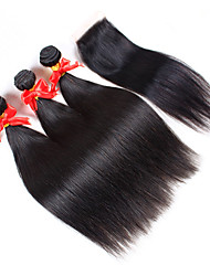 3Pcs/Lot Virgin Peruvian Silk Straight Hair Extensions 3 Bundles Unprocessed Human Hair Weave With 1Pcs Lace Closure