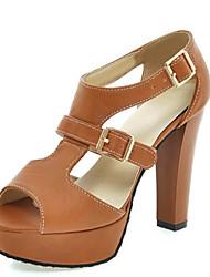 Women's Shoes Leatherette Chunky Heel Heels / Peep Toe / Platform / Fashion Boots Sandals Office & Career / Dress