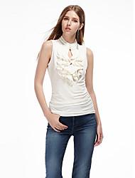 Herz Soul® Damen Rundhalsausschnitt Ärmellos T-Shirt Weiß / Orange-11AA27928