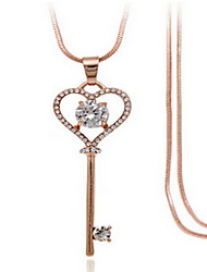 Exquisite Crystal Key Pendant Necklace Jewelry for Lady