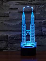 lumière de la lampe lampe de nuit de style de forme de construction de nuit 3d couleur changeante lumière de nuit