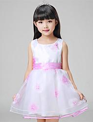A-line Short / Mini Flower Girl Dress - Organza / Satin Sleeveless Jewel with