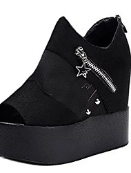Women's Shoes PU Summer Wedges Heels Casual Wedge Heel Others Black / White
