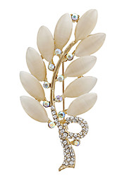 Fashion Rhinestone Opal Gold Plated Leaf Shape Brooch Pins for Women