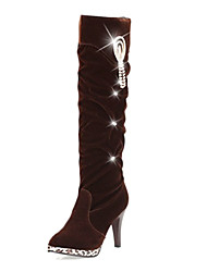 Women's Boots Winter Fashion Boots Fleece Casual Stiletto Heel Beading Black / Brown Others