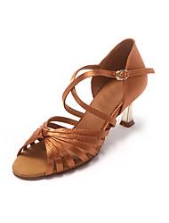 Chaussures de danse(Noir / Or) -Non Personnalisables-Talon Aiguille-Cuir-Latine