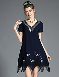 Women's Elegant Fashion Loose V-Neck Sequins Hollow Plus Size Party/Casual Dress