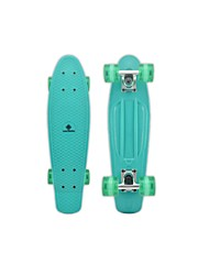 "Plastic Cruiser Skateboard Complete 22"" DIY Standard Skateboard Banana Board Green Deck Green Wheels"