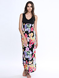Women's Sexy Beach Casual Maxi Inelastic Sleeveless Maxi Dress (Chiffon)