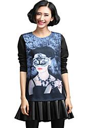 Mulheres Solto Vestido,Casual / Tamanhos Grandes Moda de Rua Estampado Decote Redondo Acima do Joelho Manga Longa PretoPoliéster /