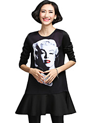 Spring/Fall Women's Casual/Daily/Plus Size Dresses Round Neck Long Sleeve Personality Printing A Line Dress