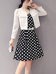 Casual/Daily / Formal Simple Two Piece Dress,Polka Dot Round Neck Above Knee Long Sleeve White Cotton Summer