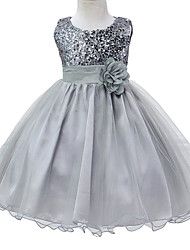 Gray Flower Girls Dress For Wedding And Party Infant Princess Girl Dresses Toddler Costume Baby Kids Clothes for 6M~3Yrs