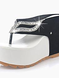 Damen-Sandalen-Lässig-PU-Keilabsatz-Sandalen-Lila / Weiß