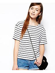 Damen Gestreift Einfach Lässig/Alltäglich T-shirt,Rundhalsausschnitt Sommer ½ Länge Ärmel Weiß Polyester Undurchsichtig