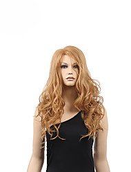 High Quality Natural Long Curly Light Brown Synthetic Wigs For White Women
