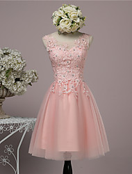 Knee-length Lace / Satin / Tulle Bridesmaid Dress Ball Gown Jewel with Beading / Sequins