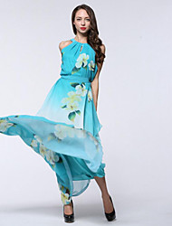 Women's Holiday / Plus Size Boho Chiffon Dress,Print Round Neck Maxi Sleeveless Blue Polyester Summer