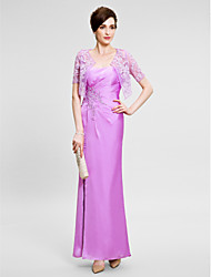 Lanting Bride® Sheath / Column Mother of the Bride Dress Ankle-length Sleeveless Satin Chiffon with Appliques / Lace