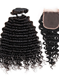 "1Pc 4""x4"" Closure with 3Pcs Peruvian Virgin Hair Weave Bundles Deep Wave 300g"