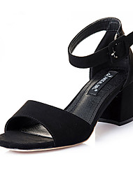 Women's Summer Heels Fleece Casual Chunky Heel Black / Gray