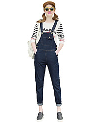 Women's Large Size Pocket Loose Denim Jeans Bib Overalls