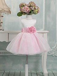 Ball Gown Knee-length Flower Girl Dress - Satin Sleeveless Jewel with Bow(s) / Flower(s)