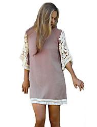 Ample Robe Aux femmes Sortie Chic de Rue,Mosaïque Col Arrondi Mini ½ Manches Rose Autres Eté