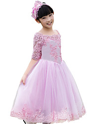 Ball Gown Tea-length Flower Girl Dress - Tulle Half Sleeve Scoop with Appliques