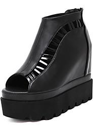 Женская обувь пу летние клинья / открытые сандалии пальца ноги платье клин пятки другие черный