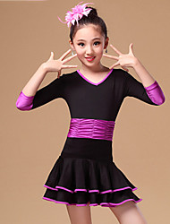 Latin Dance Dresses Children's Performance Nylon Ruffles 2 Pieces Blue / Fuchsia / Purple 3/4 Length Sleeve Natural